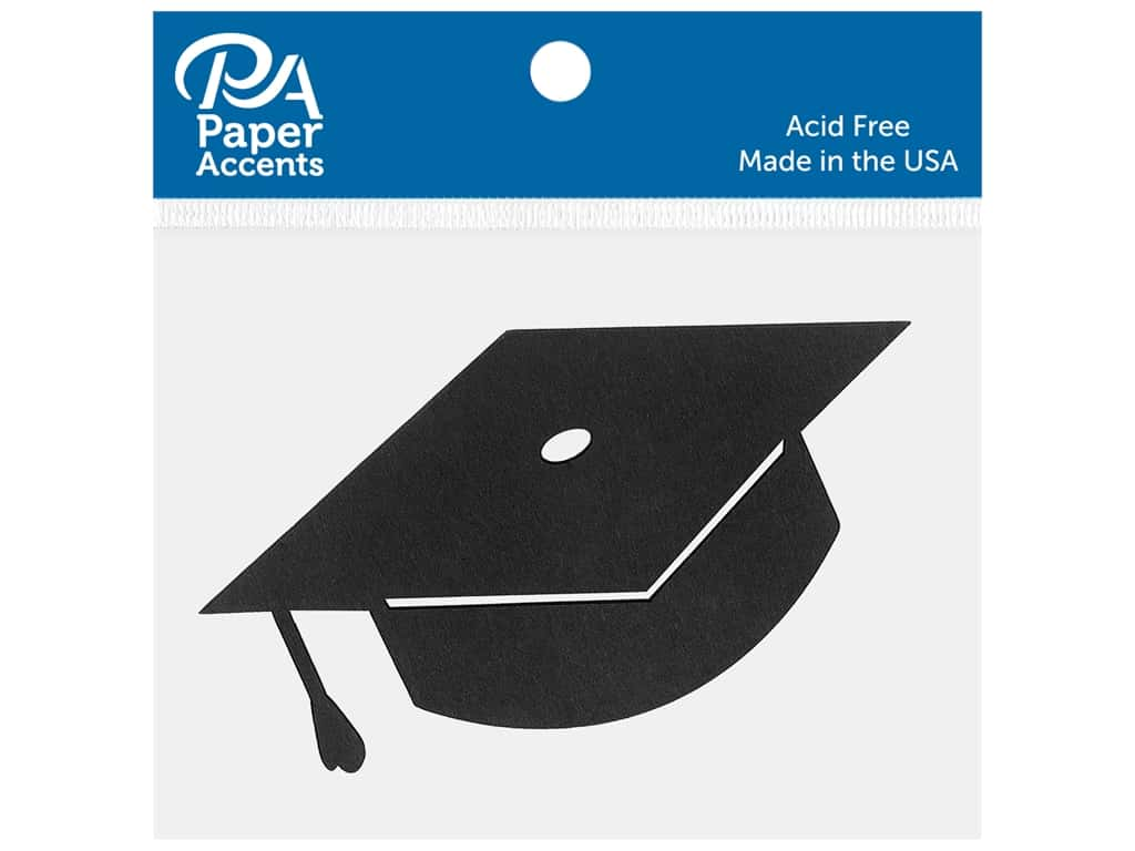 Paper Accents Chip Shape Graduation Cap Black 8 pc