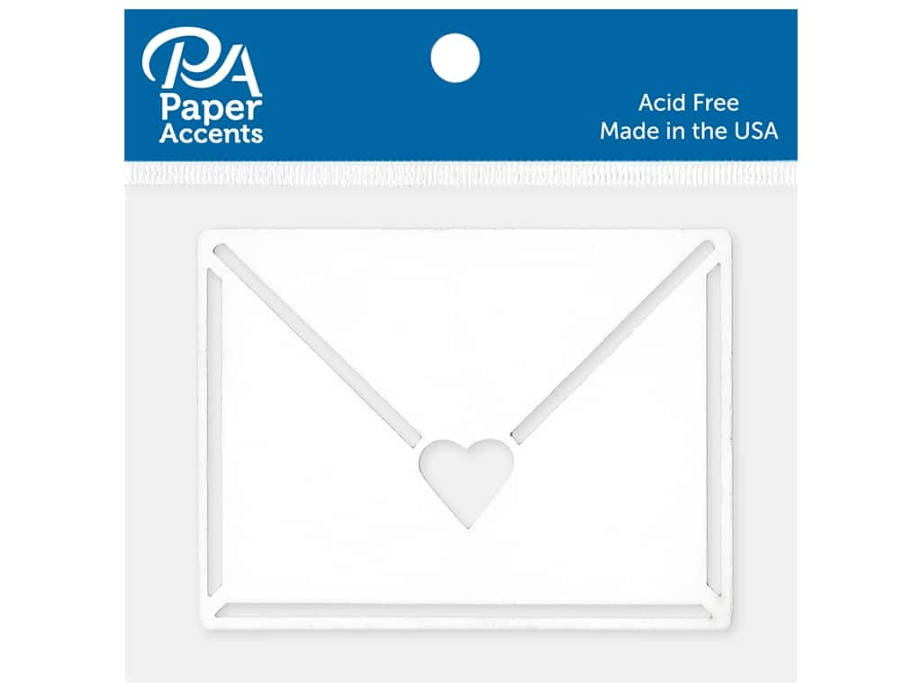 Paper Accents Chip Shape Heart Envelope White 6 pc