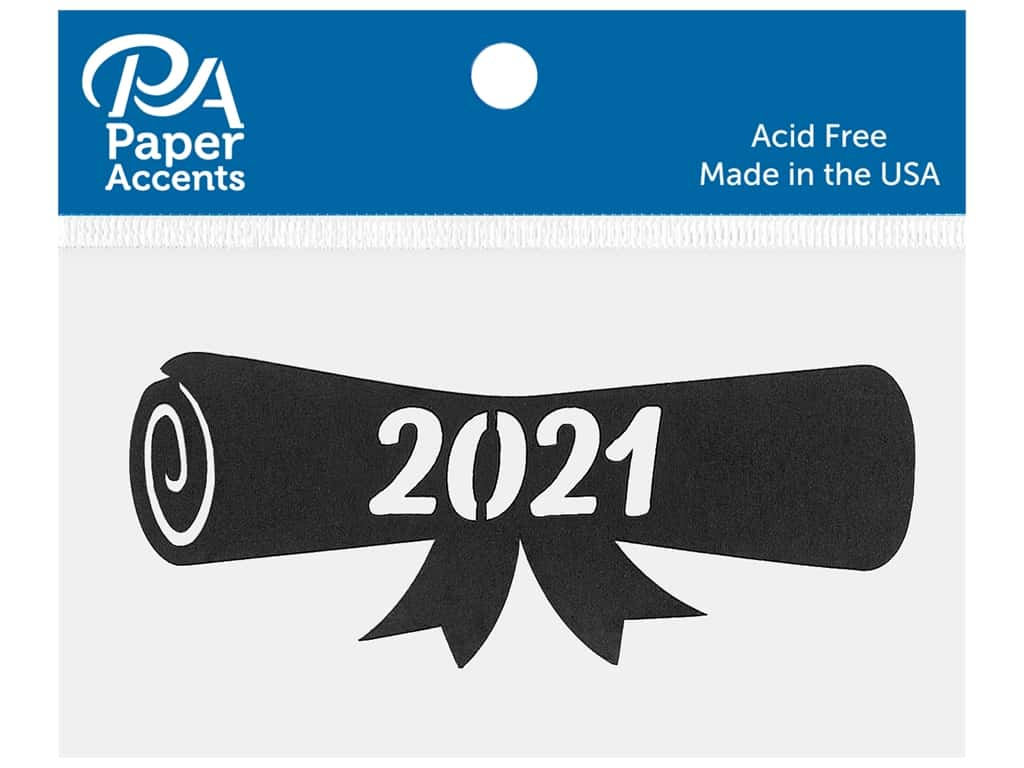 Paper Accents Chip Shape Diploma 2021 Black 8 pc