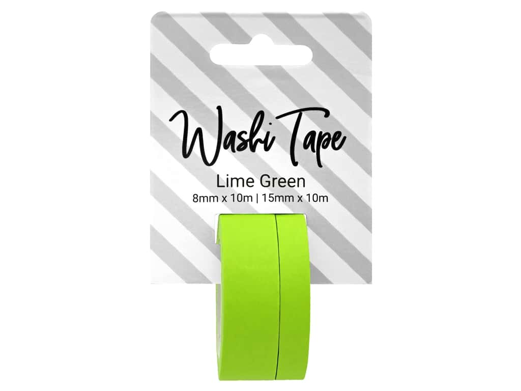 PA Essentials Washi Tape 8 mm & 15 mm x 10 m Solid Lime Green