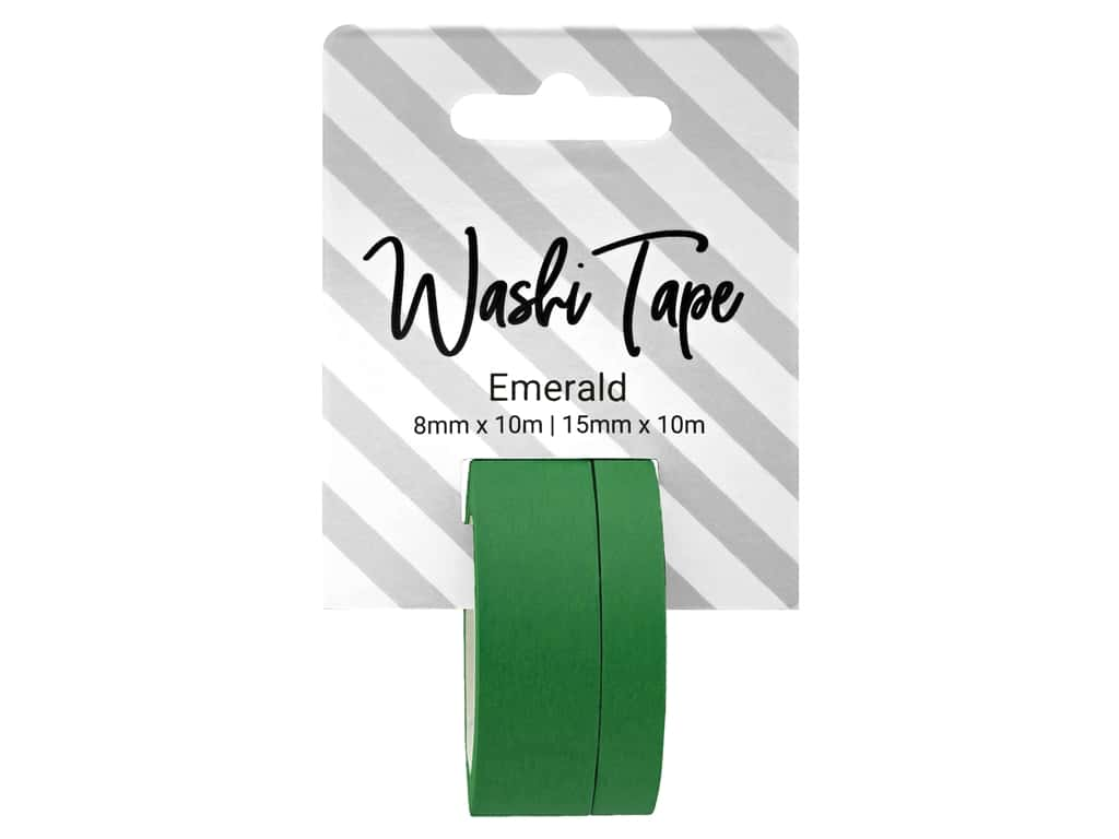 PA Essentials Washi Tape 8 mm & 15 mm x 10 m Solid Emerald