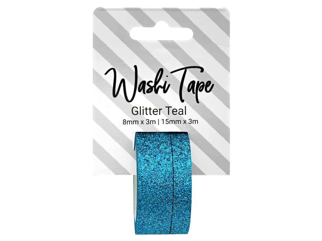 PA Essentials Washi Tape 8 mm & 15 mm x 3 m Glitter Teal