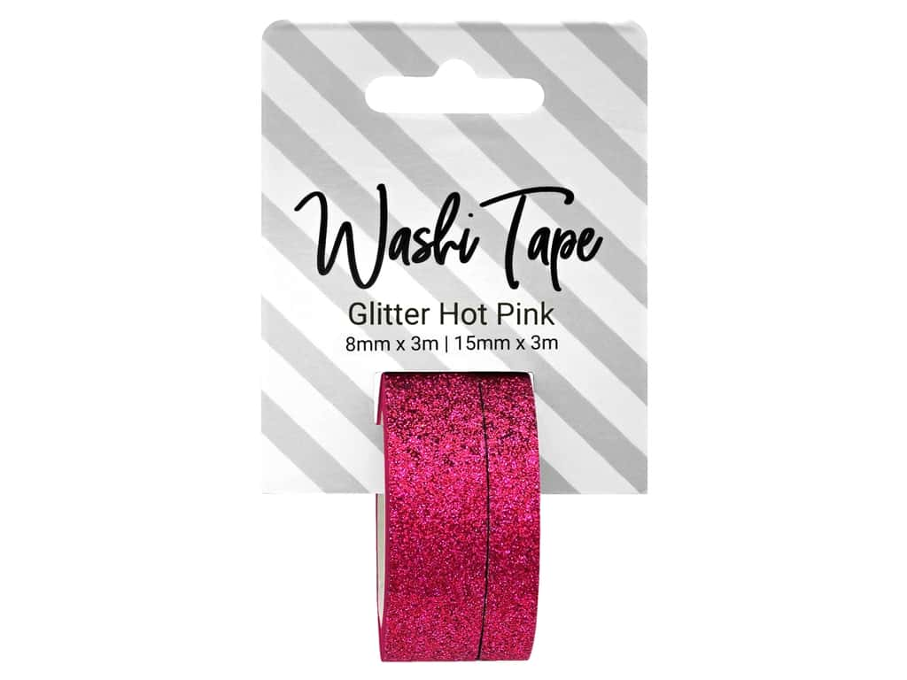 PA Essentials Washi Tape 8 mm & 15 mm x 3 m Glitter Hot Pink