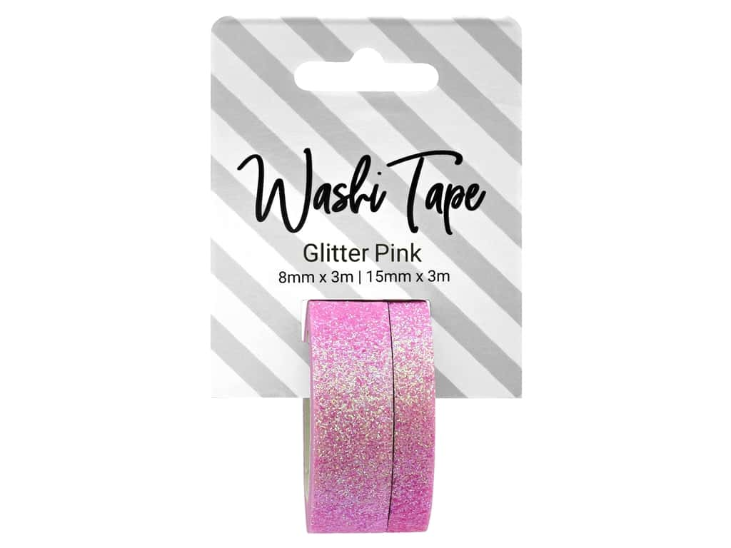 PA Essentials Washi Tape 8 mm & 15 mm x 3 m Glitter Pink