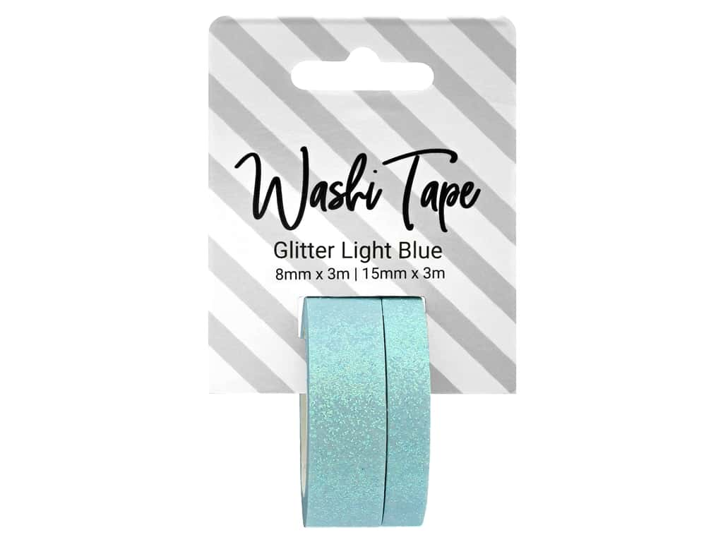 PA Essentials Washi Tape 8 mm & 15 mm x 3 m Glitter Light Blue