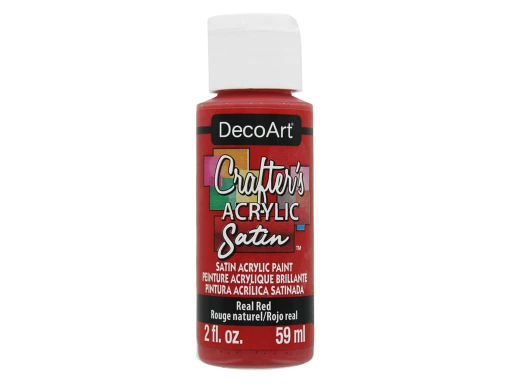 DecoArt Crafter's Satin Acrylic Paint - #04 Real Red 2 oz.