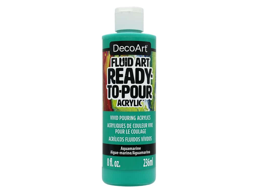 DecoArt Fluid Art Ready-To-Pour Acrylic Paint 8 oz. Aquamarine