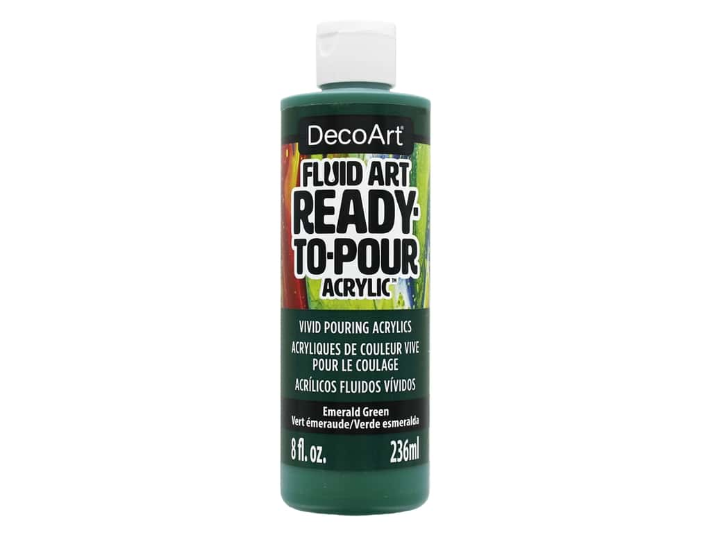DecoArt Fluid Art Ready-To-Pour Acrylic Paint 8 oz. Emerald Green