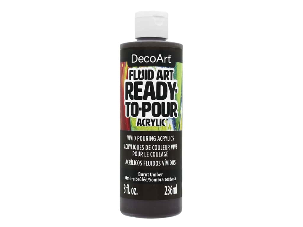 DecoArt Fluid Art Ready-To-Pour Acrylic Paint 8 oz. Burnt Umber