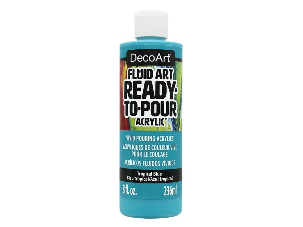 DecoArt Fluid Art Ready-To-Pour Acrylic Paint 8 oz. Tropical Blue