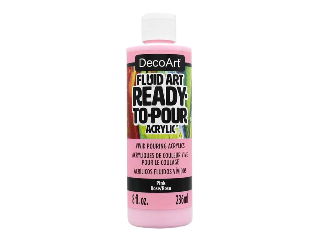 DecoArt Fluid Art Ready-To-Pour Acrylic Paint 8 oz. Pink