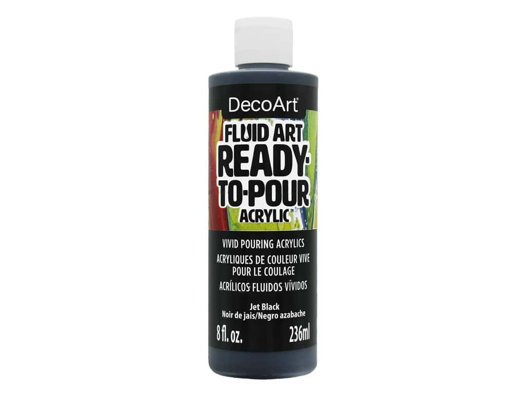 DecoArt Fluid Art Ready-To-Pour Acrylic Paint 8 oz. Jet Black