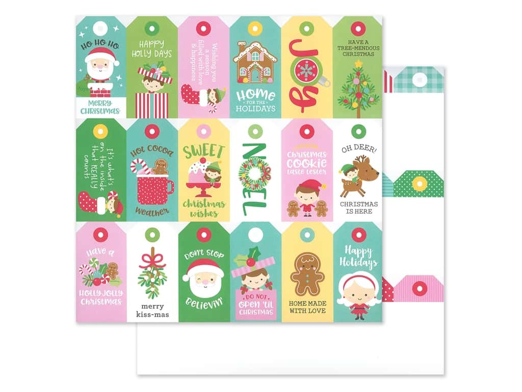 Doodlebug Collection Christmas Magic Paper 12 in. x 12 in. Christmas Tags (25 pieces)