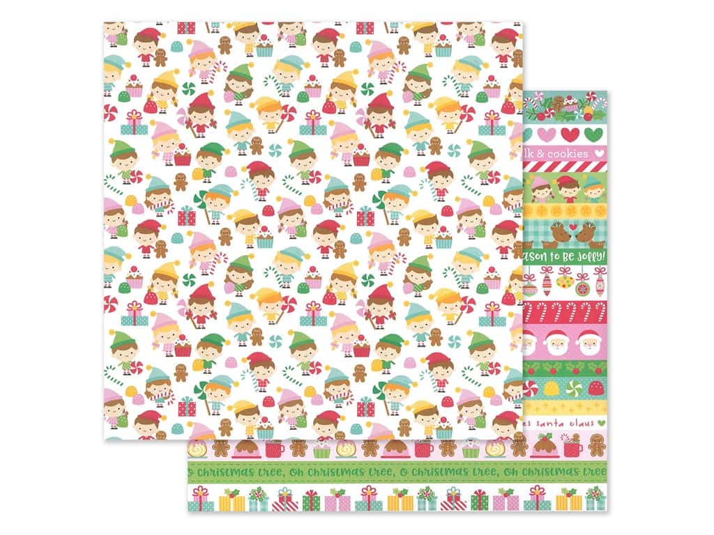 Doodlebug Collection Christmas Magic Paper 12 in. x 12 in. Little Helpers (25 pieces)