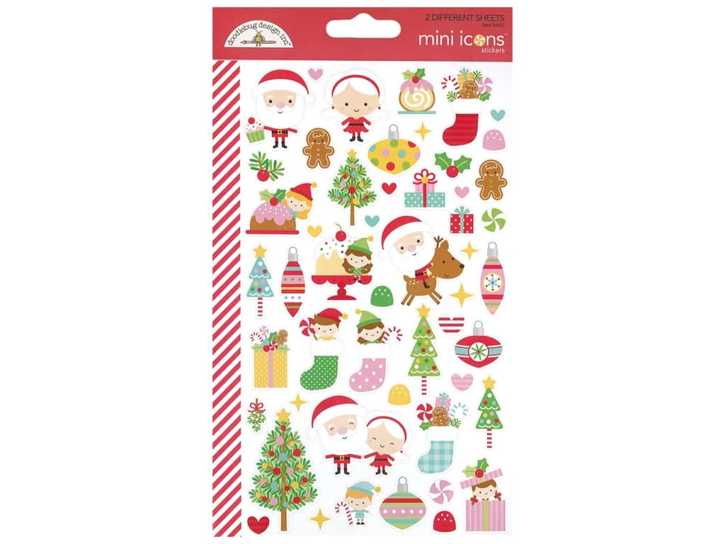 Doodlebug Collection Christmas Magic Sticker Mini Icons (12 sets)