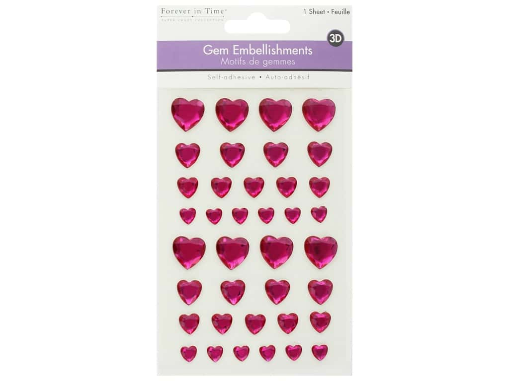 Multicraft Sticker 3D Gem Pink Hearts