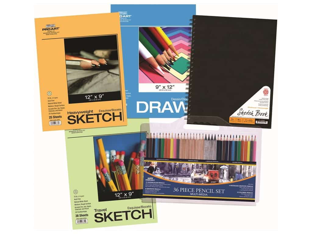 Pro Art Pencil & Paper Set 40 pc. Wirebound Sketch Book Edition