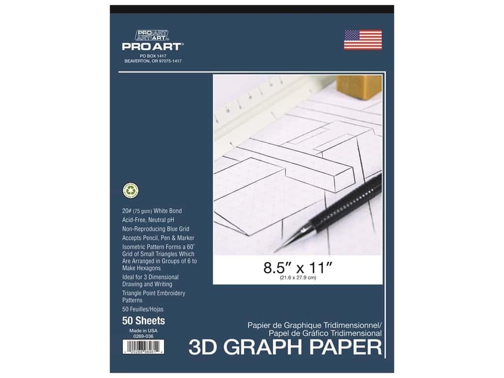 Pro Art 3D Graph Paper 8.5 in. x 11 in. 20 lb Acid Free 50 pc