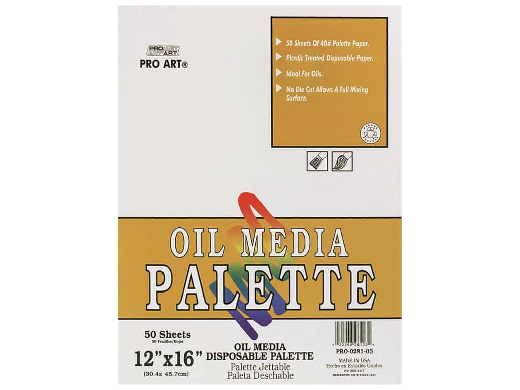 Pro Art Palette Disposable Pad Oil 12 in. x 16 in. 50 pc