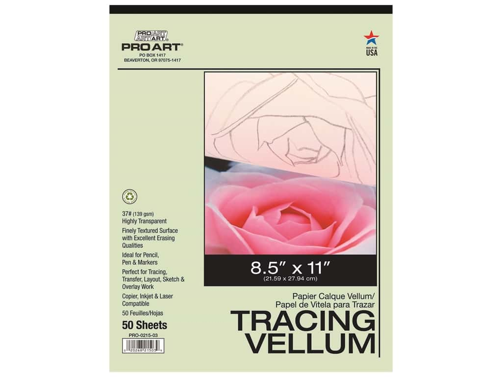 Pro Art Tracing Paper Vellum Pad 37 lb 8.5 in. x 11 in.  50 pc