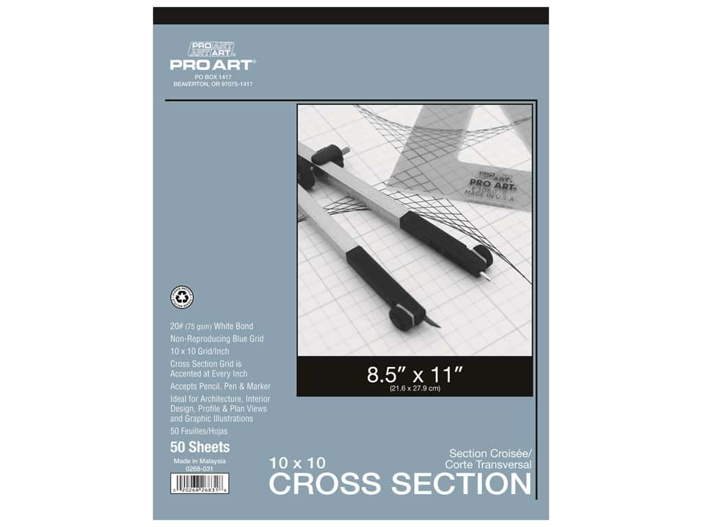 Pro Art Paper Cross Section Pad 10 x 10 Grid/Inch 8.5 in. x 11 in.  50 pc