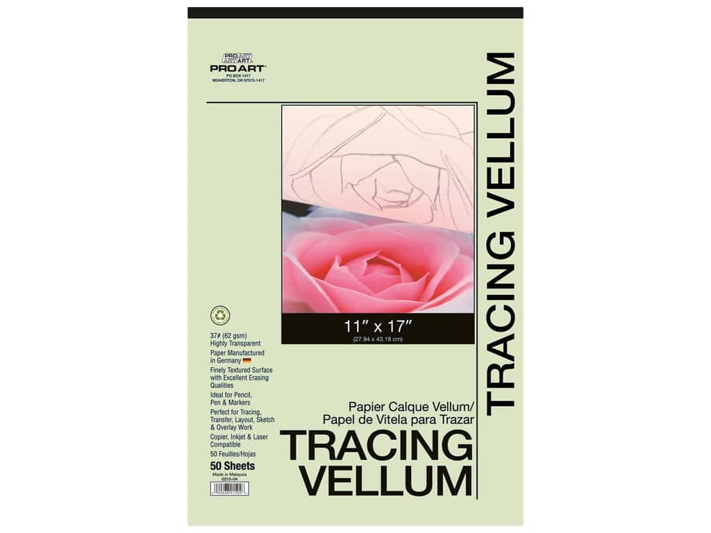 Pro Art Tracing Paper Vellum Pad 37 lb 11 in. x 17 in.  50 pc