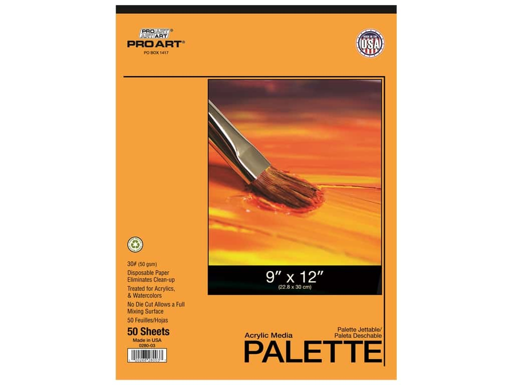 Pro Art Palette Disposable Pad Acrylic 9 in. x 12 in. 50 pc