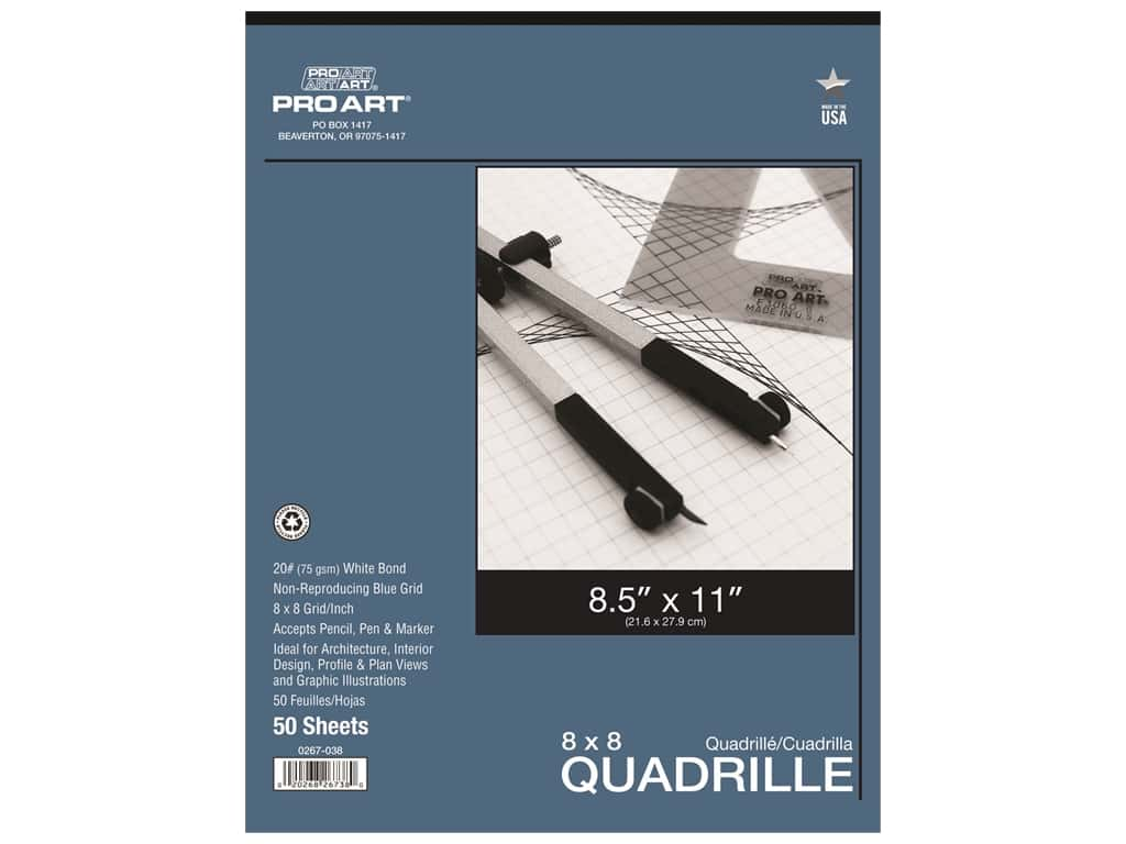Pro Art Paper Quadrille Pad 8 x 8 Grid/Inch 8.5 in. x 11 in. 50 pc