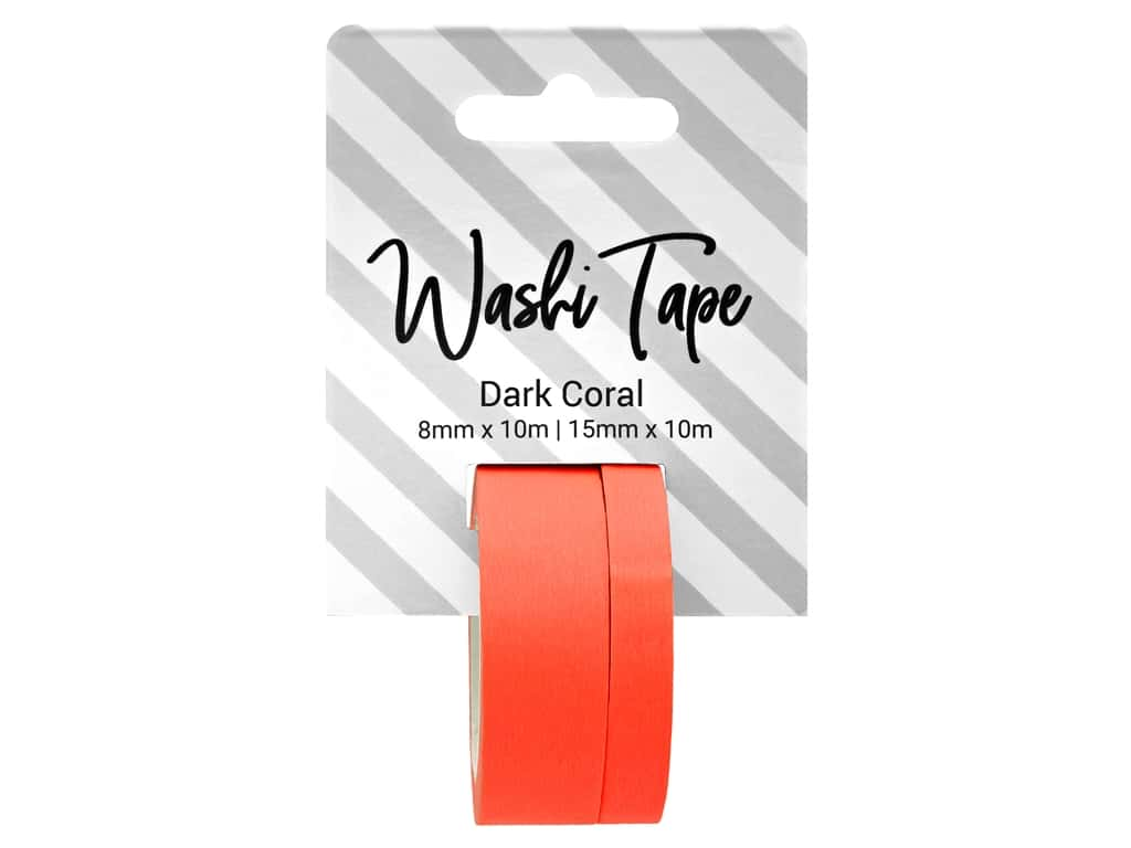 PA Essentials Washi Tape 8mm & 15mm x 10m Solid Dark Coral