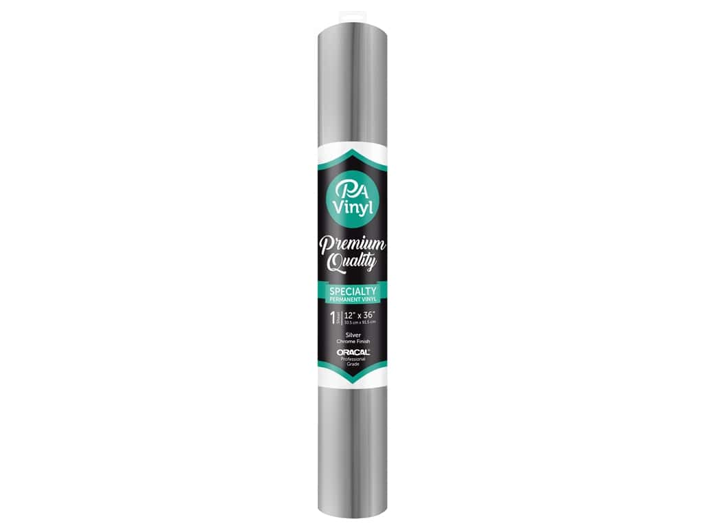 PA Vinyl 12 in. in. x 36 in. Roll Permanent Adhesive Chrome Silver