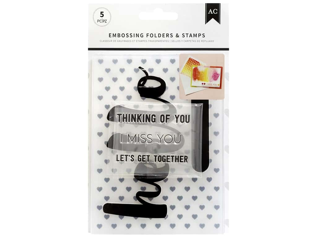 American Crafts Embossing Folder & Stamp Set Hello You