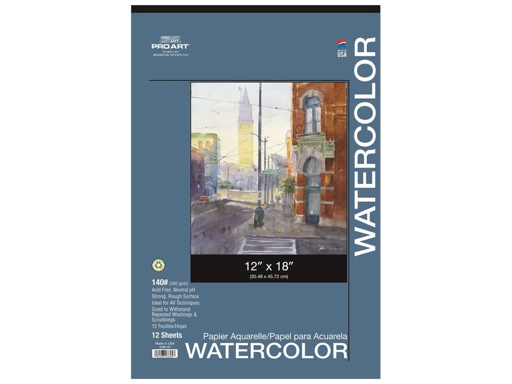 Pro Art Watercolor Paper Pad 12 x 18 in. 140 lb. 12 Sheet