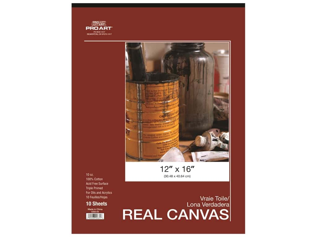 Pro Art Real Canvas Pad 12 x 16 in. 10 Sheet