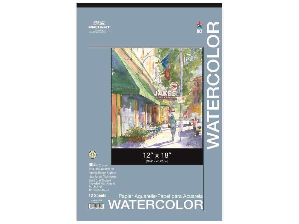 Pro Art Watercolor Paper Pad 12 x 18 in. 90 lb. 12 Sheet