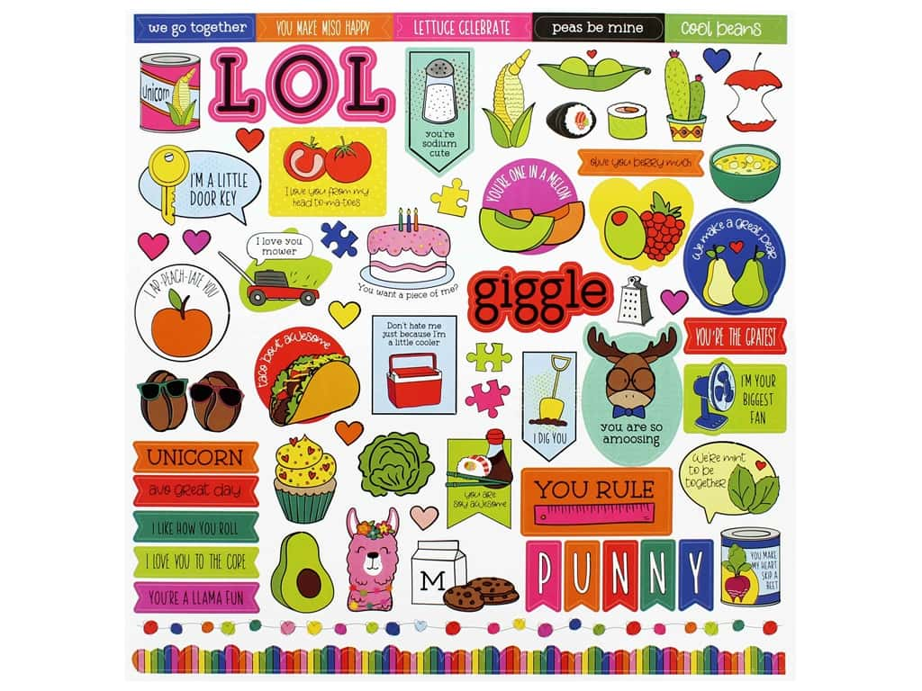 Photo Play 12 x 12 in. Sticker Sheet No Pun Intended (12 pieces)