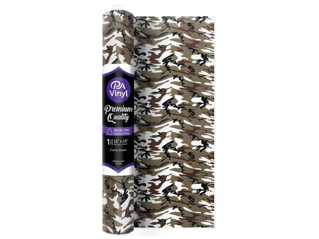 PA Vinyl Iron On 12 in. x 15 in. Roll Camo Green