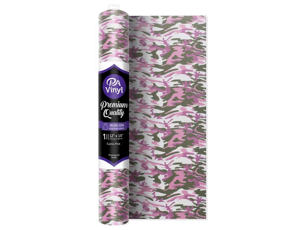 PA Iron-On Vinyl 12 x 15 in. Camo Pink