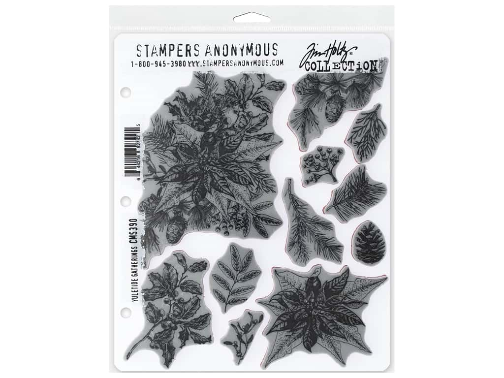 Stampers Anonymous Tim Holtz Cling Mount Stamp Set - Yule Tide Gatherings