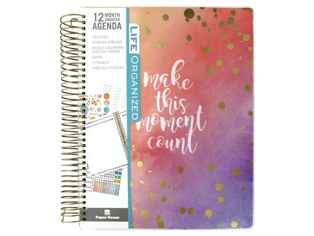 Paper House Collection Life Organized Planner 12 Month Weekly Calendar Make Moment Count