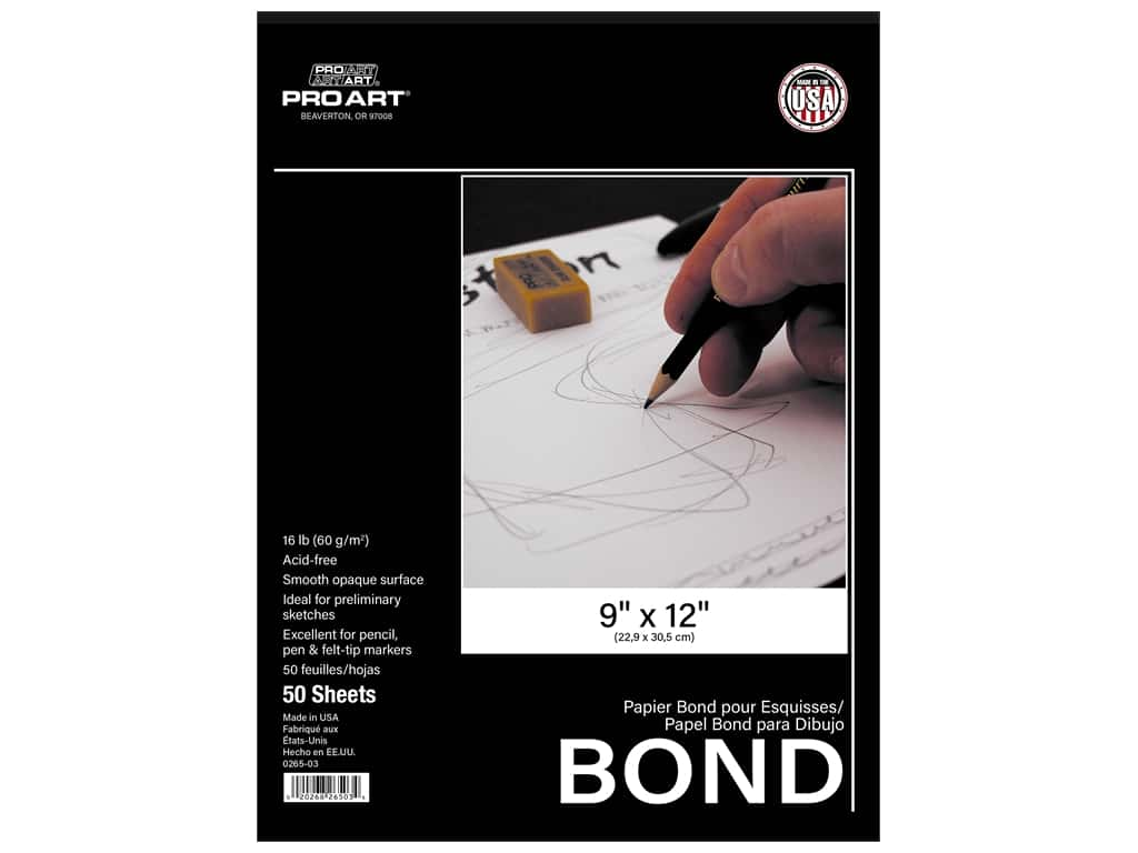 Pro Art Bond Pad - 9 x 12 in. 16 lb. 50 Sheets