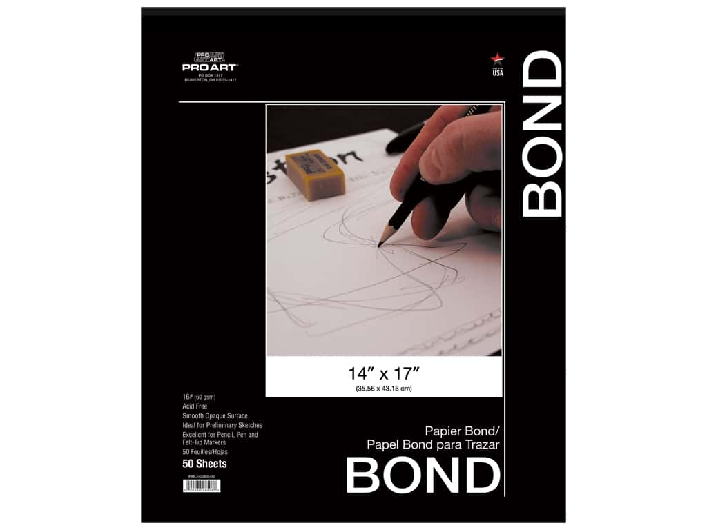 Pro Art Bond Pad 14 in. x 17 in. 16 lb Acid Free 50 pc