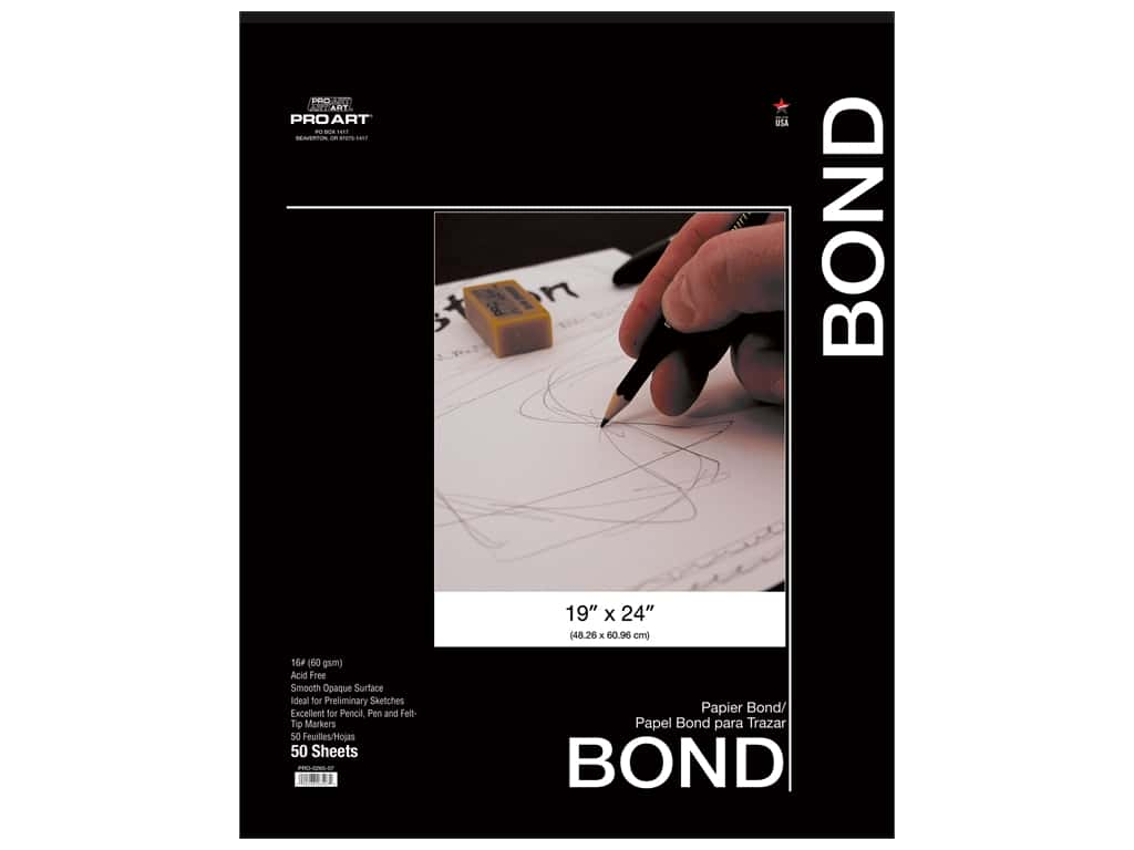 Pro Art Bond Pad 19 in. x 24 in. 16 lb Acid Free 50 pc