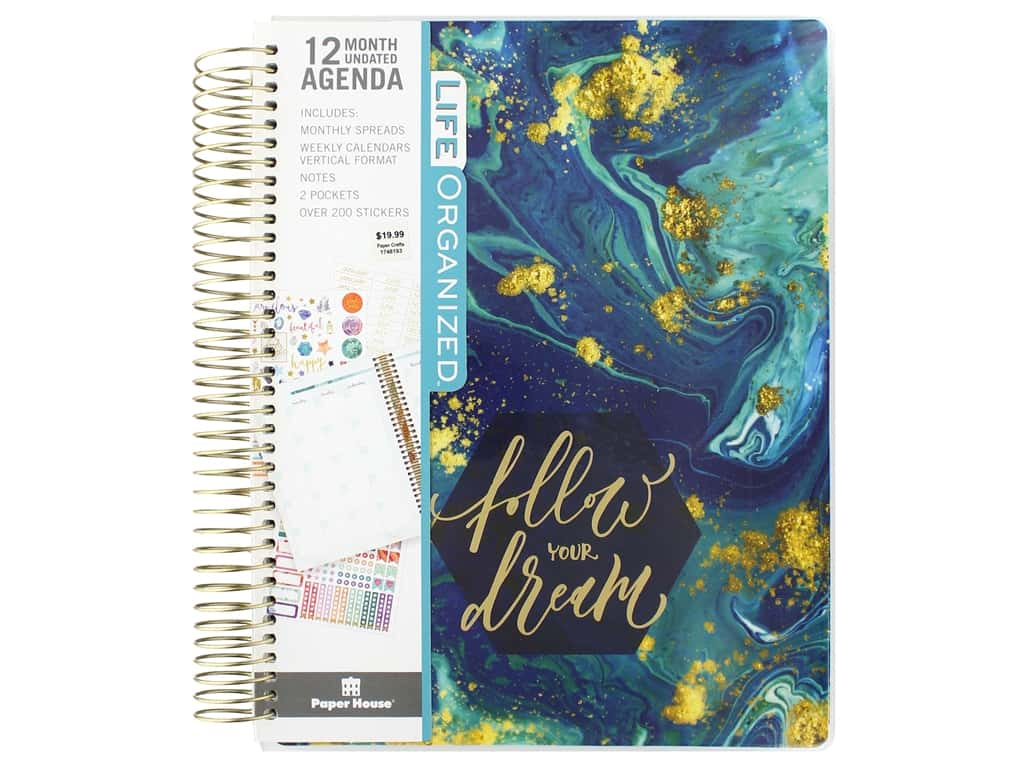 Paper House Collection Life Organized Planner 12 Month Blue Marble
