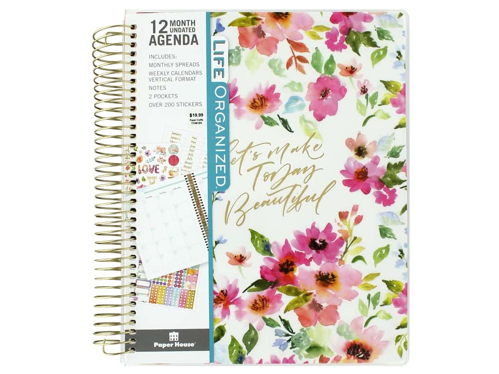 Paper House Collection Life Organized Planner 12 Month Weekly Calendar Floral