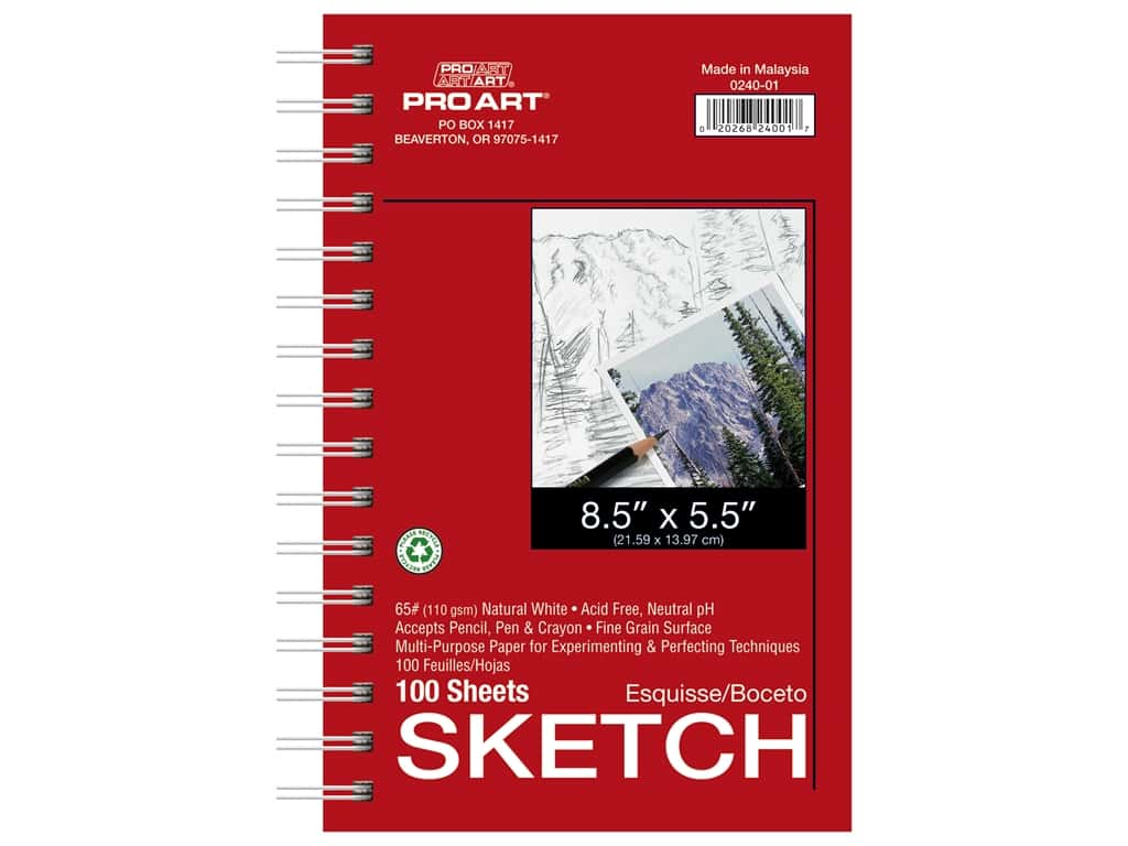 Pro Art Sketch Paper Pad 65 lb 8.5 in. x 5.5 in. Wire Bound 100 pc