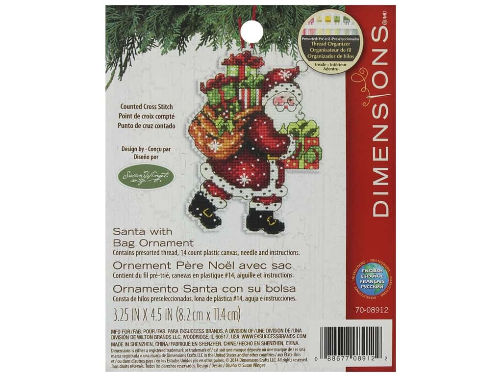 Dimensions Cross Stitch Kit Susan Winget Ornament Santa With Bag