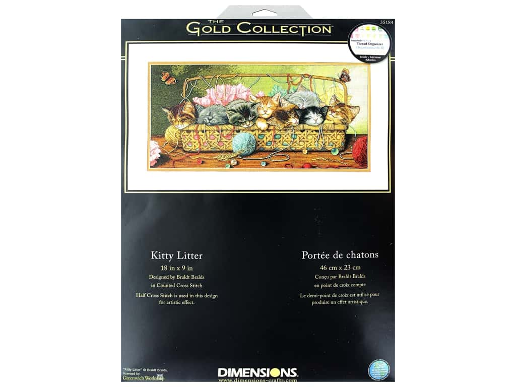 Dimensions Cross Stitch Kit Gold Collection 18 in. x 9 in. Kitty Litter