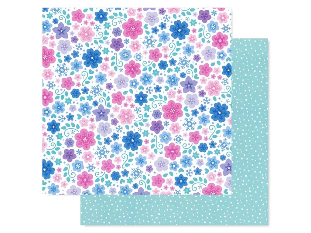 Doodlebug Collection Winter Wonderland Paper 12 in. x 12 in. Snowflowers (25 pieces)