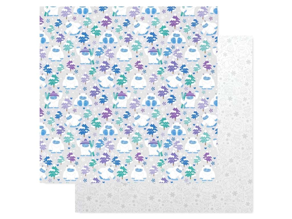 Doodlebug Collection Winter Wonderland Paper 12 in. x 12 in. Yeti For Winter (25 pieces)