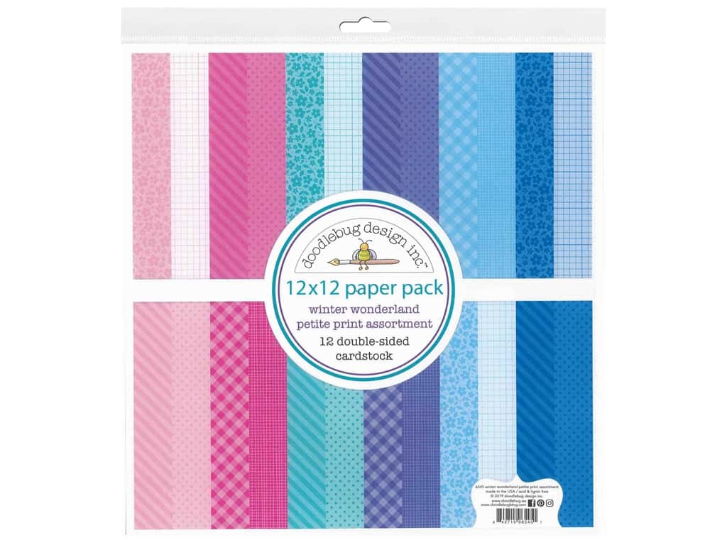 Doodlebug Collection Winter Wonderland Paper Pack 12 in. x 12 in. Petite Print